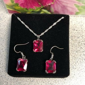 Jewelry - Ruby Red Earring & Necklace Set